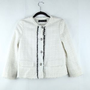 Zara Off White Tweed Jacket Boxy S